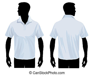Men body silhouette with polo shirt template, vector illustration