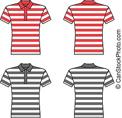 Polo striped t shirt man template (front, back views)