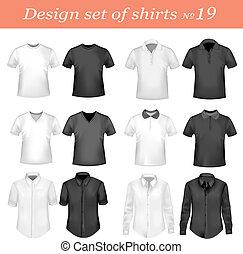 polo, svart, vit, män, shirts