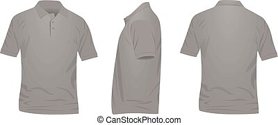 Polo t shirt. front, side and back view