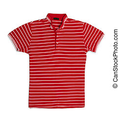 Red striped polo t-shirt isolated on white