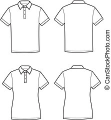 Vector illustration of men's and women's polo t-shirt. Front and back views