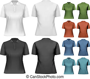 polo, template., femmina, vector., disegno, shirts.
