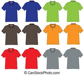 polo, vector, diseño, camisa, plantilla