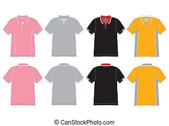 polo, vettore, disegno, camicia, sagoma