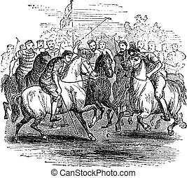Polo, vintage engraving