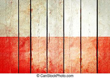 pologne, bois, grunge, flag.