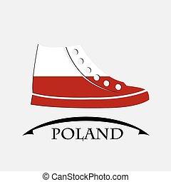 pologne, fait, drapeau, chaussures, icône