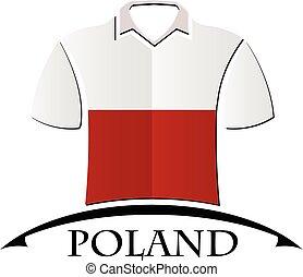 pologne, fait, drapeau, icône, chemises