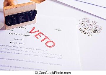 polonais, droit & loi, acte, à, rouges, veto, stamp.