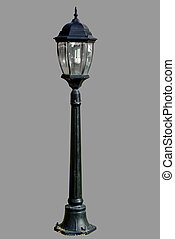 polonais léger, isolé, lampe, rue, poste, route