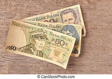 polonais, vieux, billets banque.