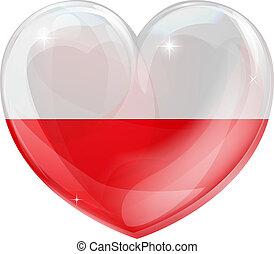 polonia, cuore, amore, bandiera