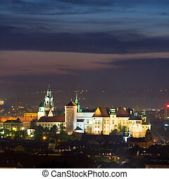 polonia, krakow, escena, noche