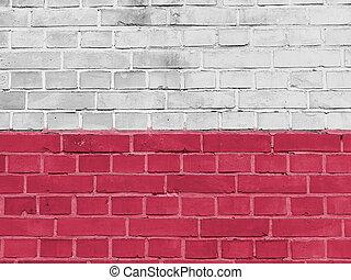 polonia, política, concept:, señalador polaco, pared