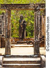 polonnaruwa, cuadrángulo, encuadrado, buddha, puerta, stutue