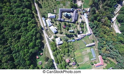 Polovragi Monastery, Romania, aerial upper view
