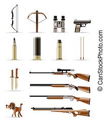 polowanie, ikony, -, wektor, ikona, komplet