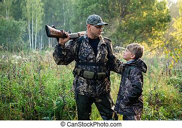 polowanie, syn, nature., znowu, pokaz, ojciec, armata, coś