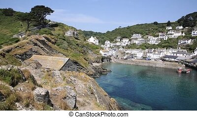 Polperro Cornwall England UK during summer heatwave with...