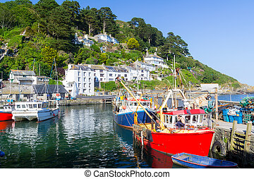 Polperro Harbour Cornwall England - Historic Harbour at...