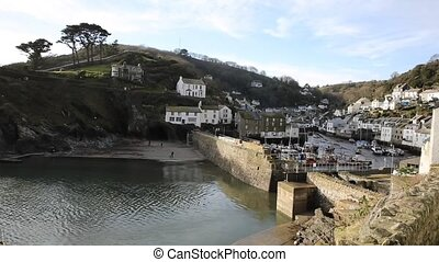 Polperro harbour Cornwall pan - Polperro harbour Cornwall...