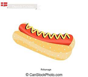 polpular, cão, polsevogn, alimento, dinamarca, quentes, ou
