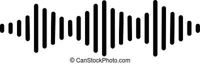 pols, geluid, app, jouw, symbool., web, signaal, teken., pictogram, audio, muziek, plat, logo, golven, ui., style., equalizer, bouwterrein, witte , ontwerp, achtergrond.