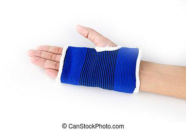 pols, splint, hand, vrijstaand, witte achtergrond