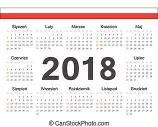 polska, cirkel, vektor, kalender, 2018