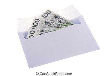 polska, kuvert, valuta