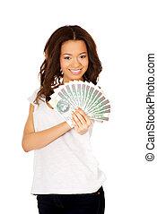 polski, kobieta, pieniądze., dzierżawa, afrykanin
