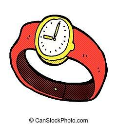 polso, comico, orologio, cartone animato