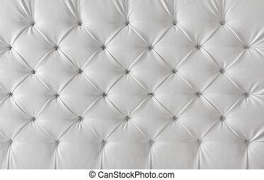 polstring, læder sofa, baggrund mønster, hvid, tekstur