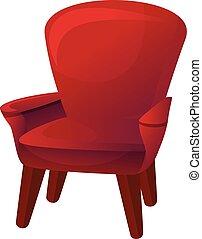 poltrona, ícone, estilo, vermelho, caricatura