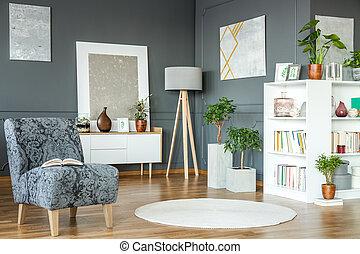 poltrona, arte, grigio, galleria