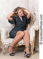 poltrona, assento mulher