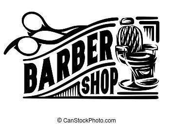 poltrona, barbershop, retro, tesouras, elegante, emblema