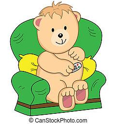 poltrona, cartone animato, orso, seduto