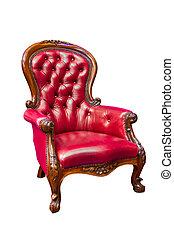 poltrona couro, luxo, vermelho, isolado