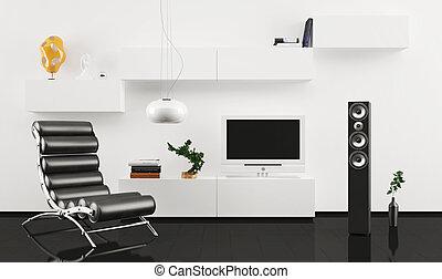 poltrona couro, projeto interior