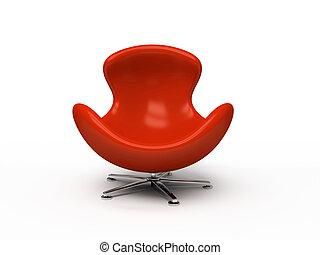 poltrona cuoio, isolato, interpretazione, fondo, bianco rosso, 3d