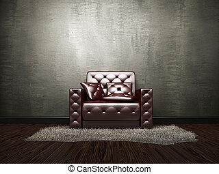 poltrona cuoio, parete, cemento