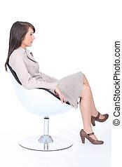 poltrona, estagiário, jovem, sentando