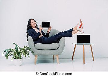 poltrona, executiva, tabuleta, sentando