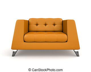 poltrona, isolato, interpretazione, fondo, arancia, bianco, schiuma, 3d