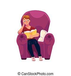 poltrona, jovem, confortável, livro, leitura, homem