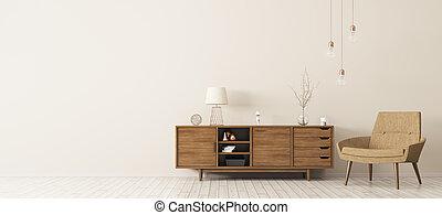 poltrona legno, gabinetto, interpretazione, interno, 3d