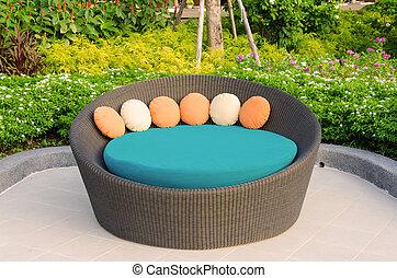 poltrona, malacca, mobilia giardino
