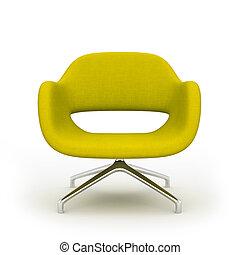 poltrona, moderno, isolato, giallo, interpretazione, fondo, bianco, 3d